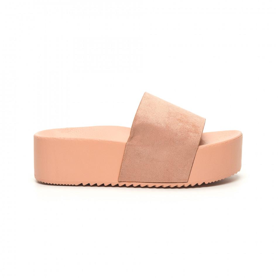 Розови дамски чехли на платформа it050619-39