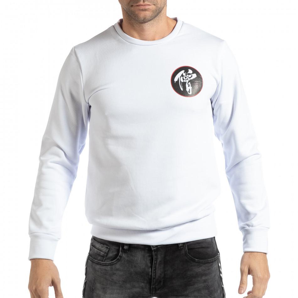 Бяла мъжка блуза с източен мотив it261018-94