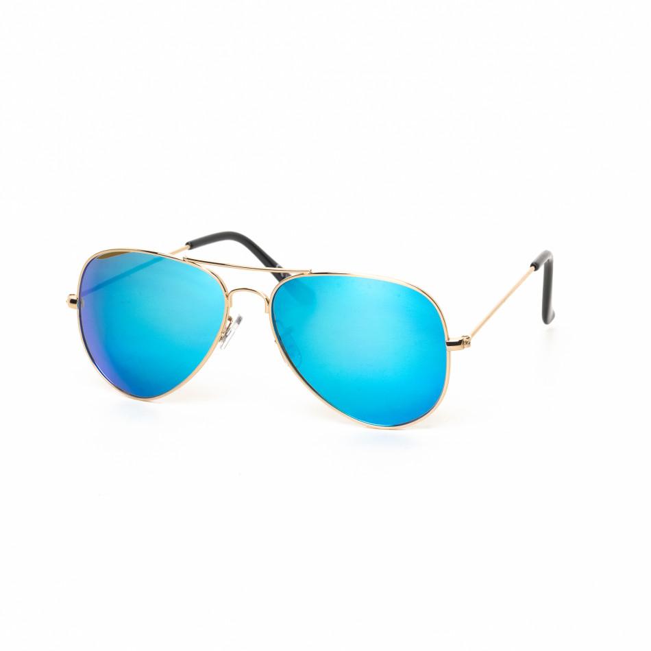 Огледални пилотски слънчеви очила в синьо it030519-3