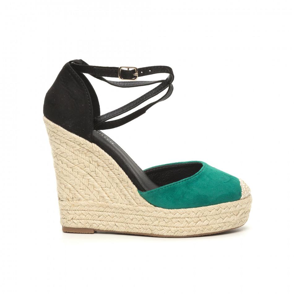 Дамски зелени сандали на висока платформа it050619-27