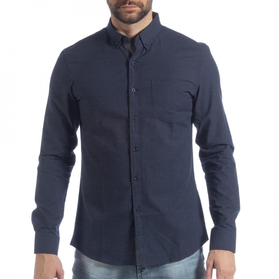 Slim fit мъжка синя риза на точици it040219-122