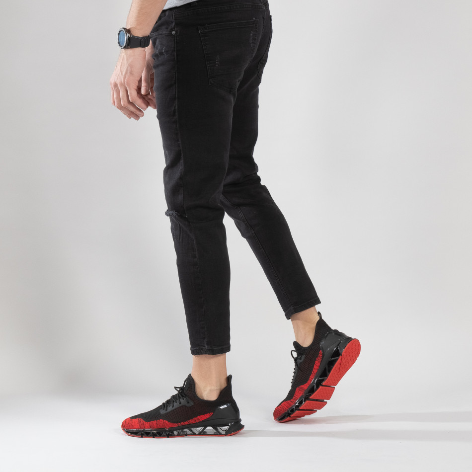 Леки мъжки маратонки Knife в черно и червено it150319-25