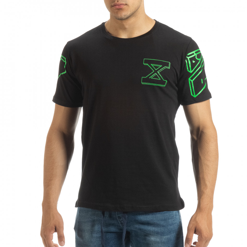 Черна мъжка тениска зелен принт на гърба it120619-37