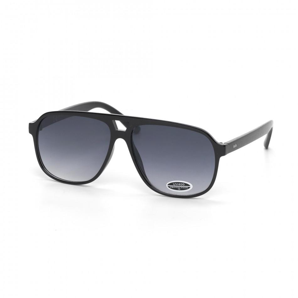 Класически трапецовидни очила опушени черни it030519-37