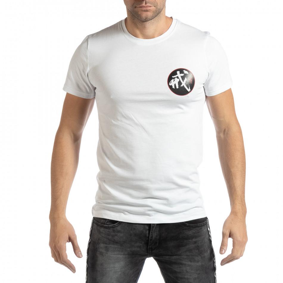 Мъжка бяла тениска с източен мотив it261018-118