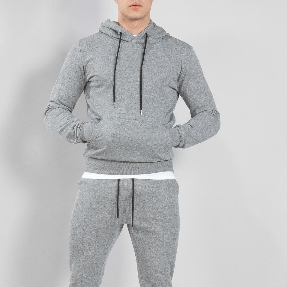 Basic мъжки суичър тип анорак в сиво it150419-41
