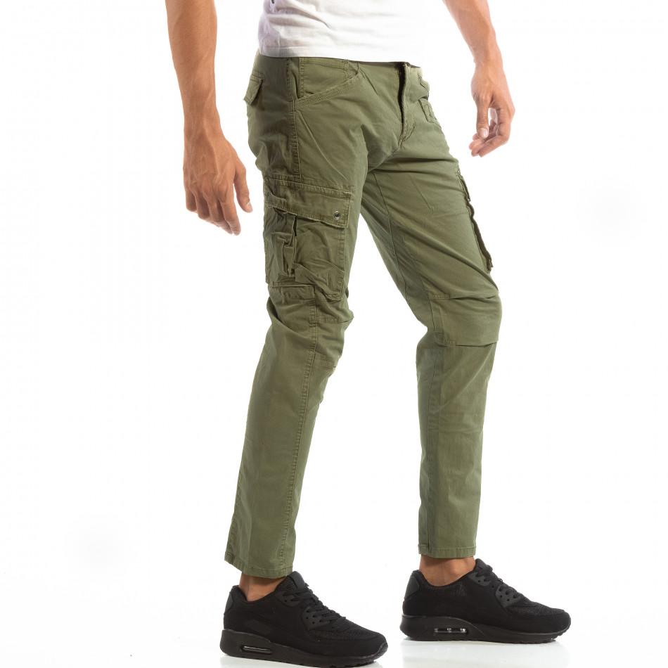 Зелен мъжки карго панталон с място за аксесоар it240818-1