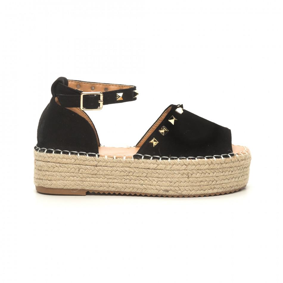 Черни дамски сандали тип еспадрили с капси it050619-35