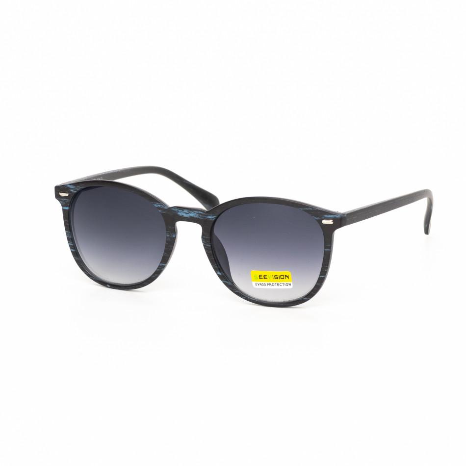 Опушени слънчеви очила дървесна рамка синя it030519-46