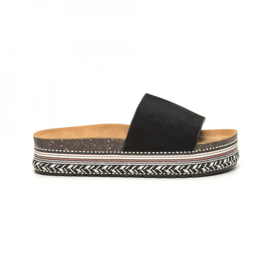 Черни дамски чехли декорирана платформа it050619-57