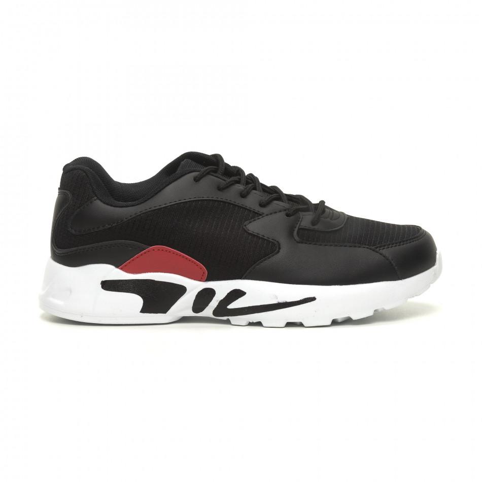 Мъжки ултралеки маратонки с дебела подметка в черно it040619-11