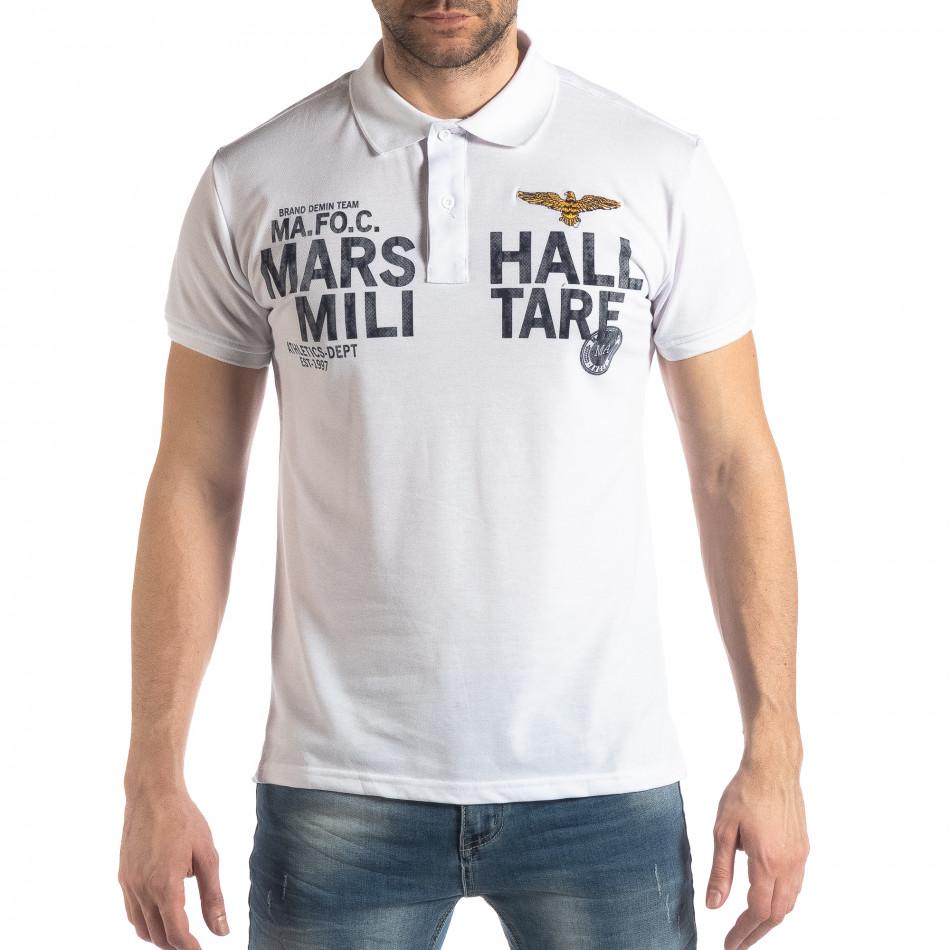 Бяла тениска с яка Marshall Militare it210319-86