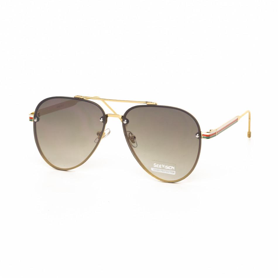 Пилотски очила с плоски стъкла кафяво опушено it030519-8