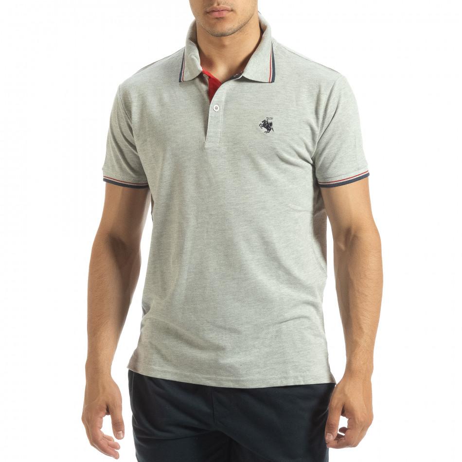 Мъжка тениска polo shirt в сиво it120619-24