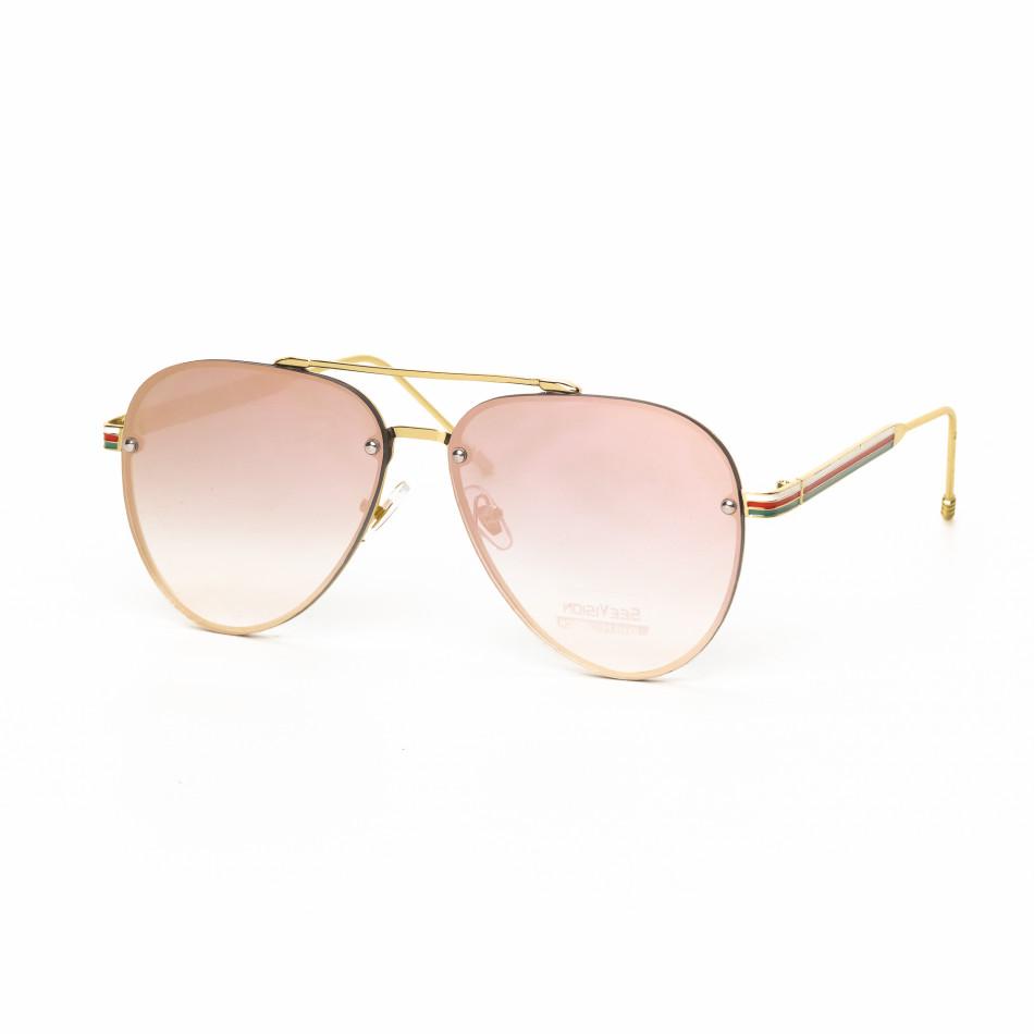 Пилотски очила с плоски стъкла огледално розово it030519-5