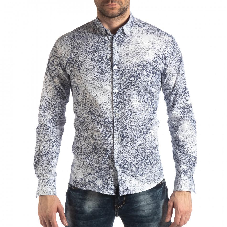 Slim fit мъжка риза Vintage десен в бяло it210319-97