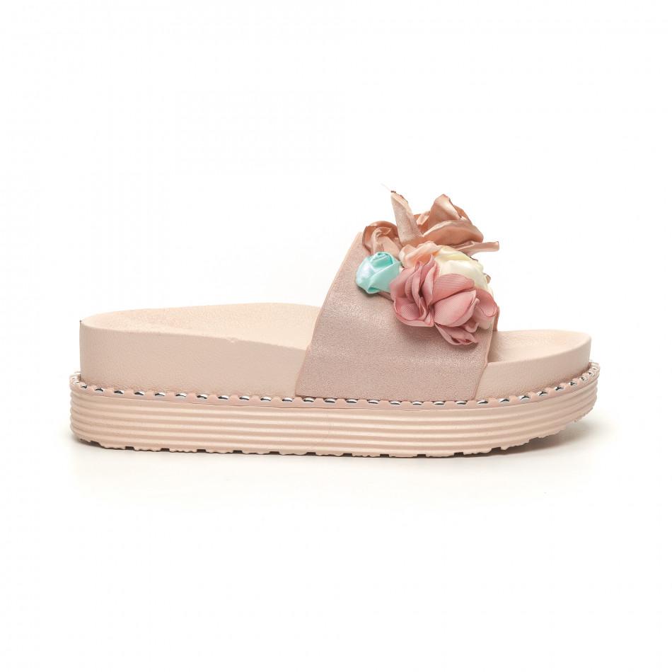 Розови дамски чехли с цветя it050619-31