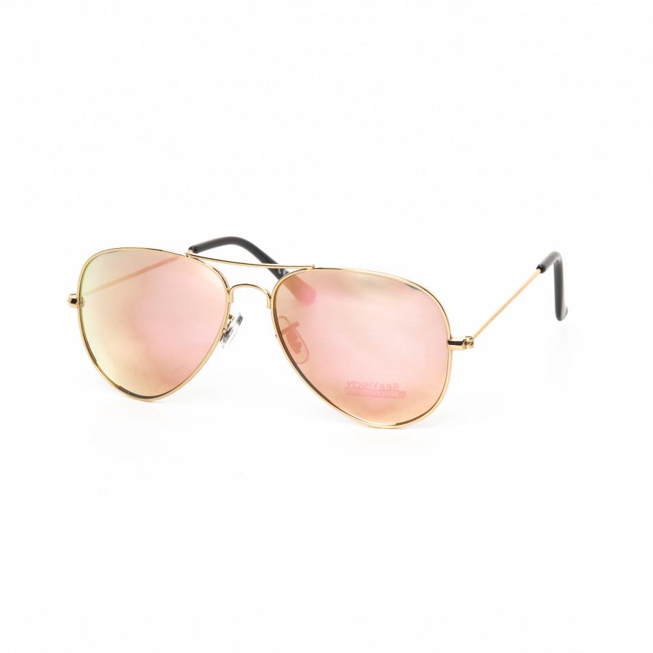 Огледални пилотски слънчеви очила в светло розово it030519-1