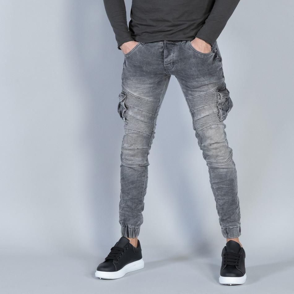 Рокерски мъжки Cargo Jeans в сиво it040219-16