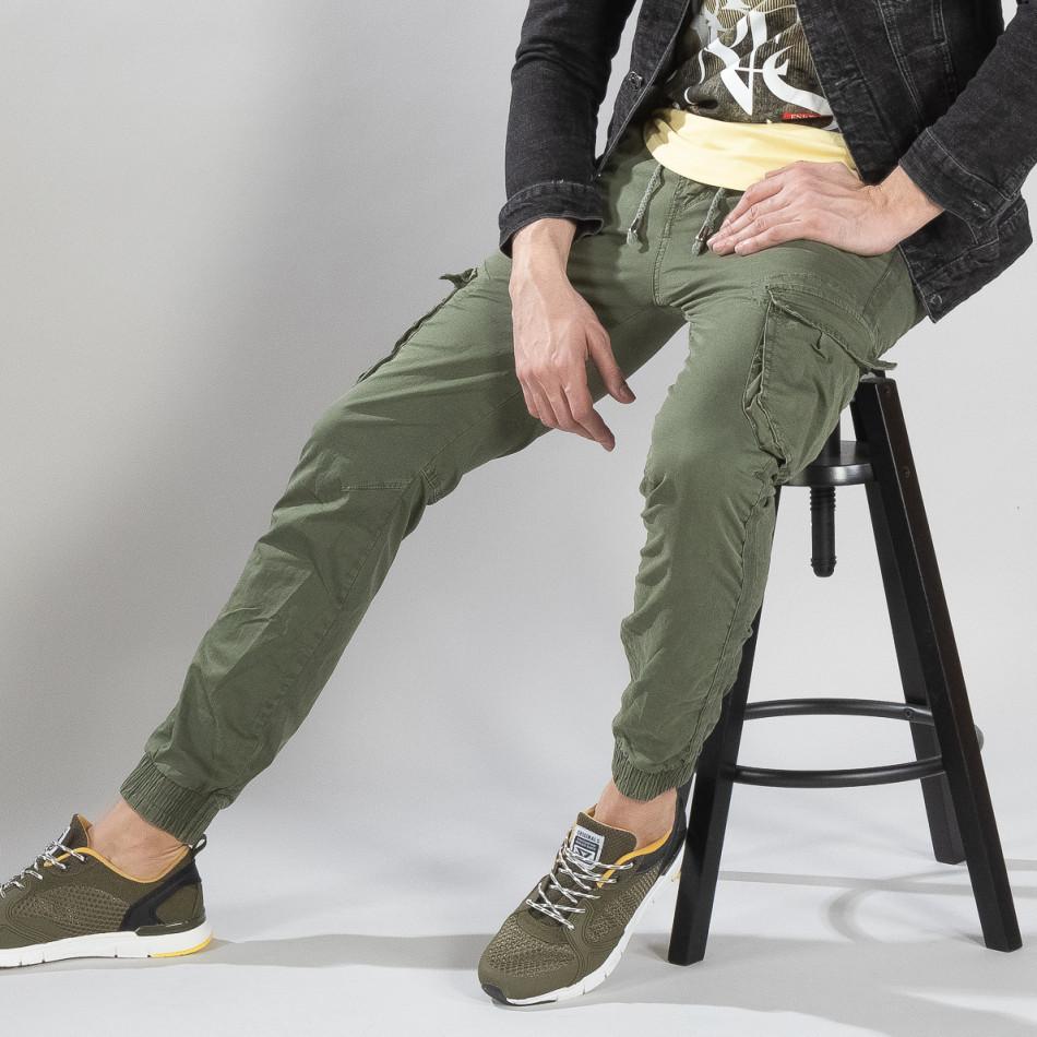 Зелен карго панталон с трикотажни маншети it210319-20