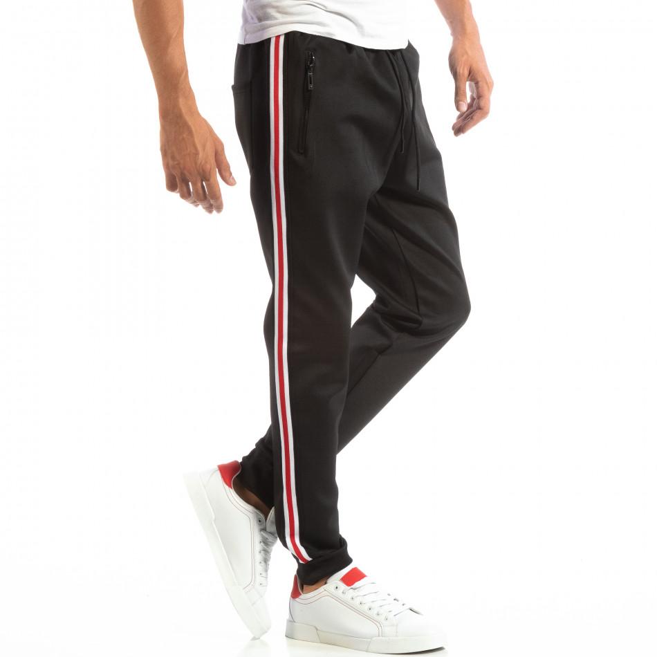 Мъжко черно долнище с кант 5 striped. Размер L it240818-80-1