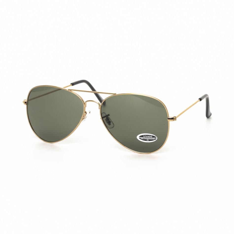 Пилотски черни слънчеви очила златиста рамка it030519-15