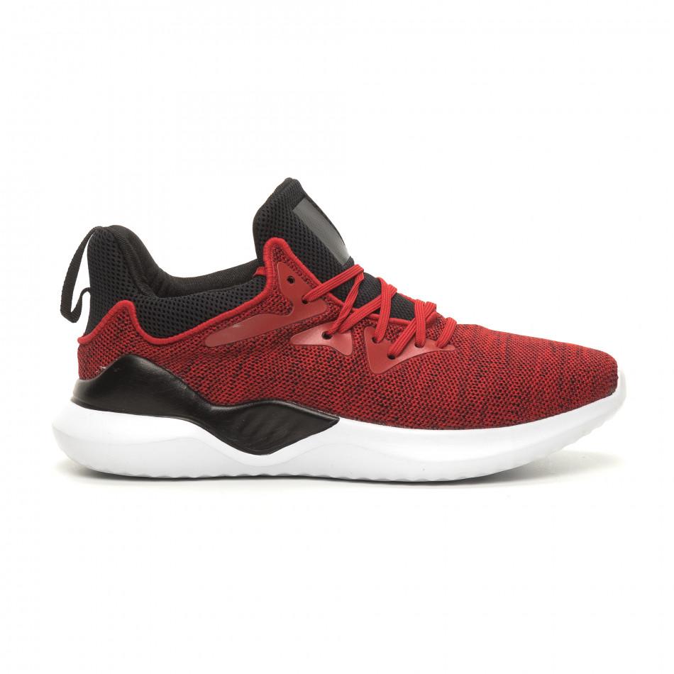 Меки плетени мъжки маратонки червен меланж it060619-1
