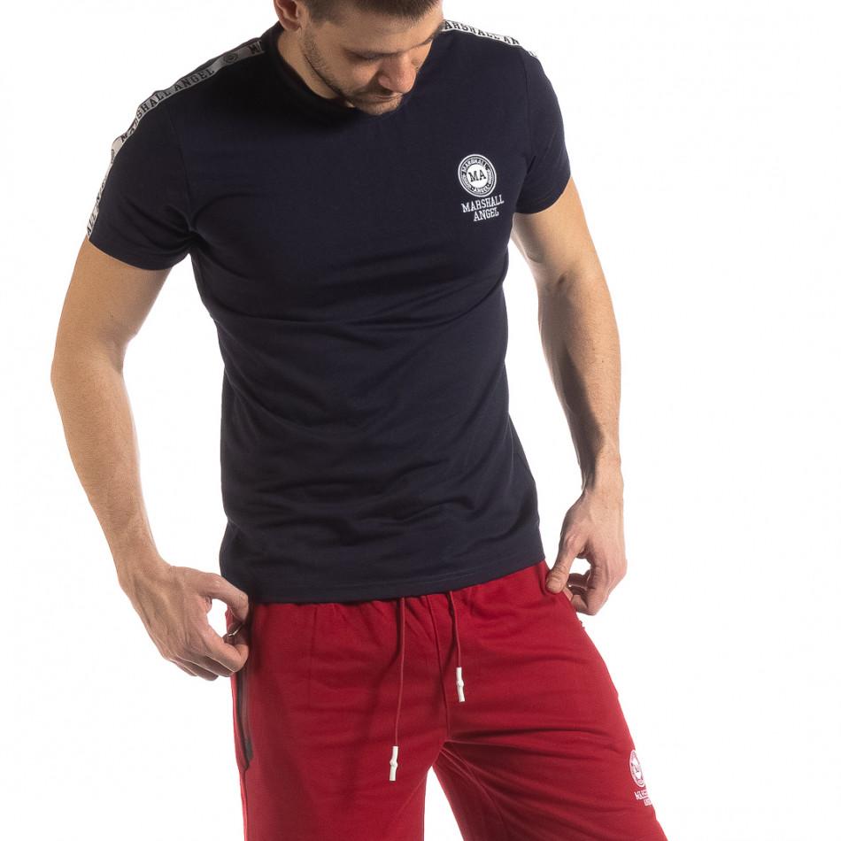 Тъмносиня мъжка тениска с лого кант it210319-85