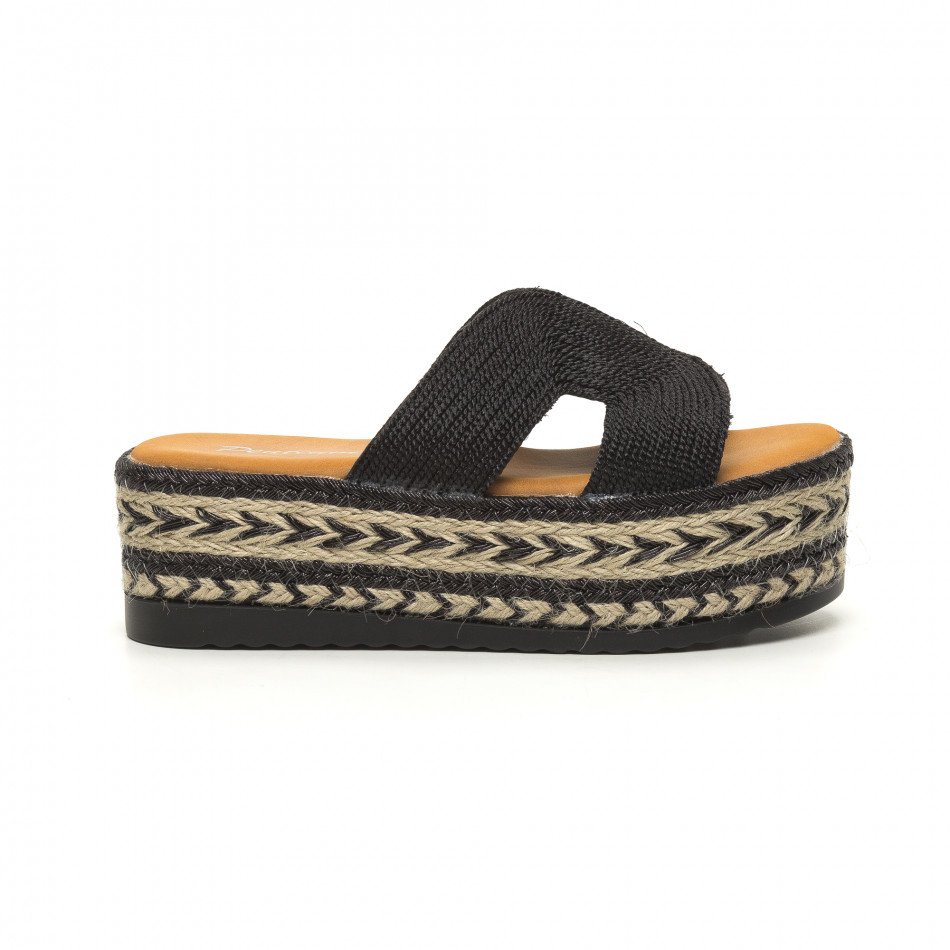 Дамски плетени чехли в черно равна платформа it050619-81