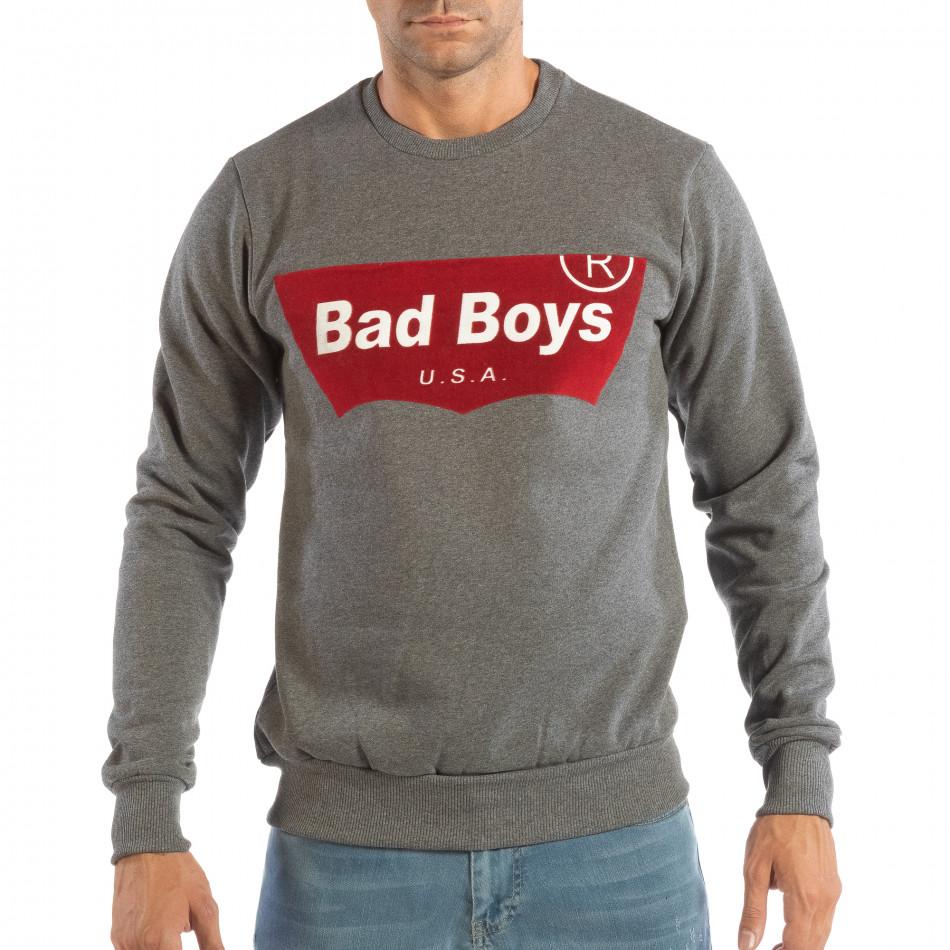 Сива мъжка ватирана блуза с флок щампа it240818-144