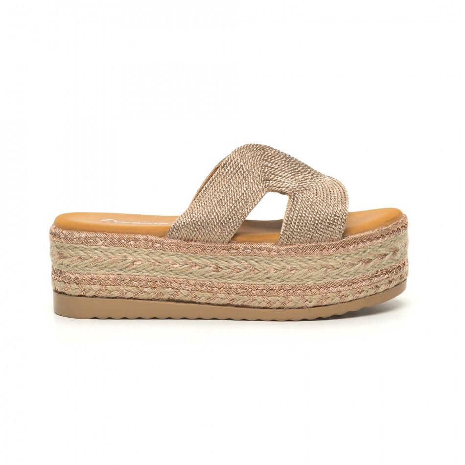 Дамски плетени чехли в златисто равна платформа it050619-80