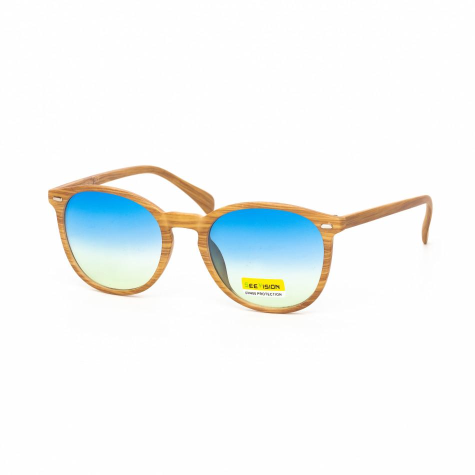 Опушени сини очила дървесна рамка натурална it030519-49
