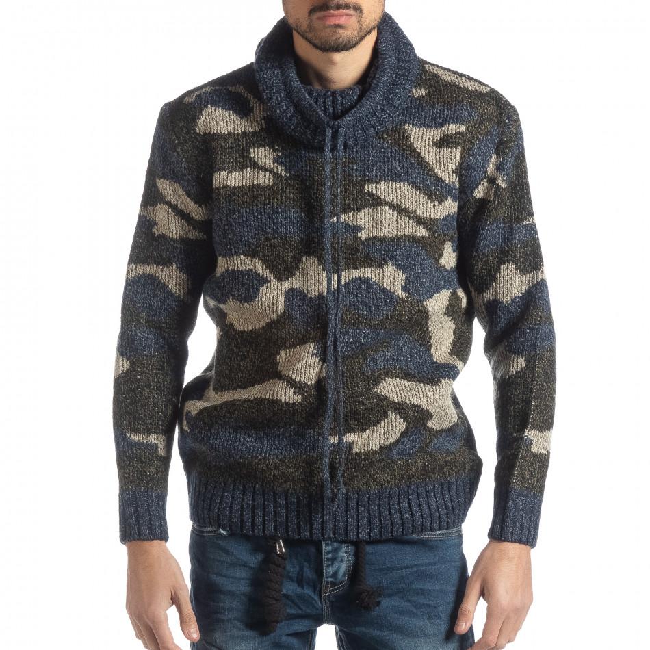 Мъжки пуловер с поло яка син камуфлаж it051218-50