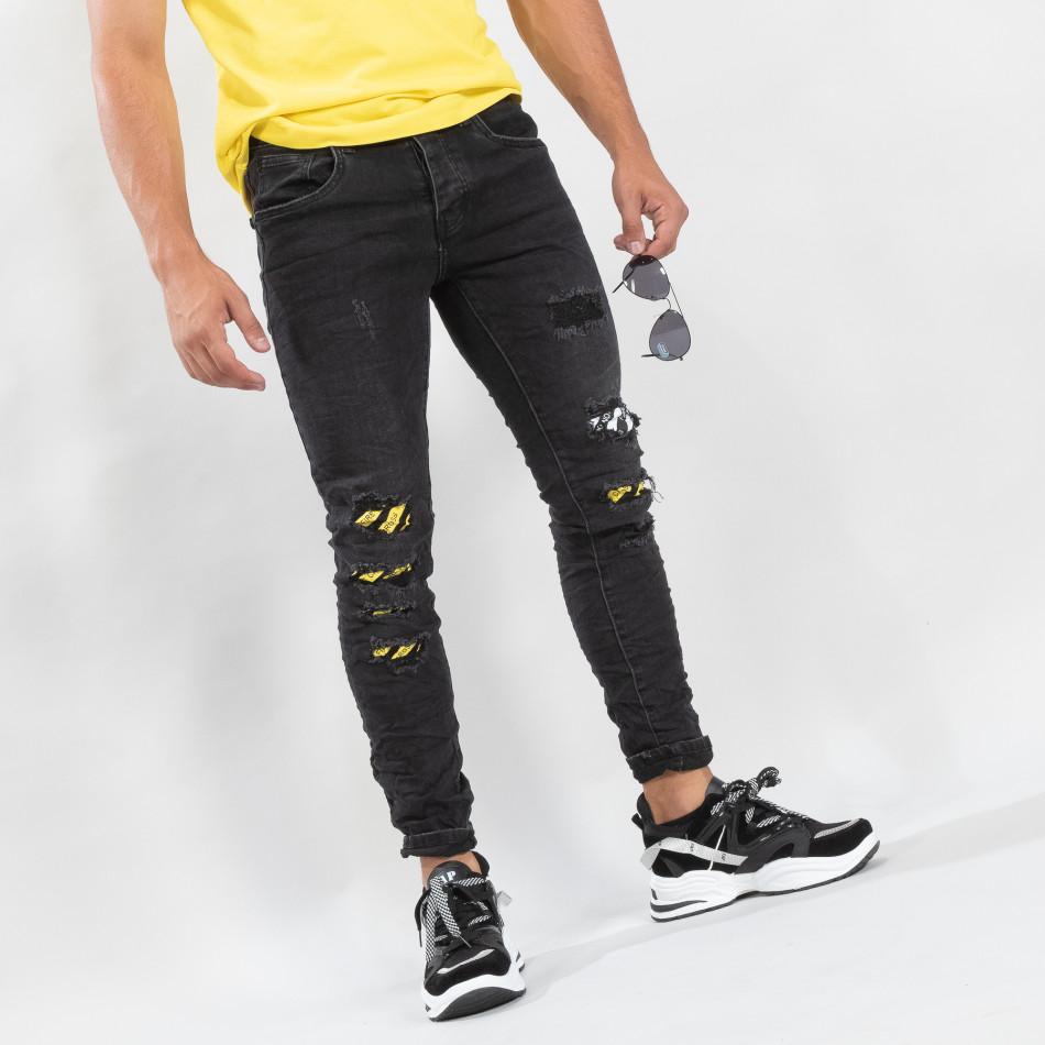Slim fit мъжки черни дънки с акценти it170819-50