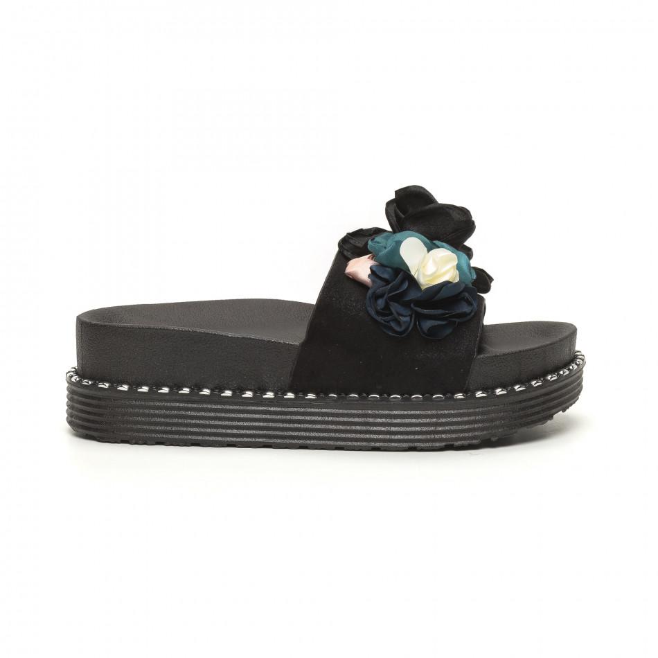 Черни дамски чехли с цветя it050619-30