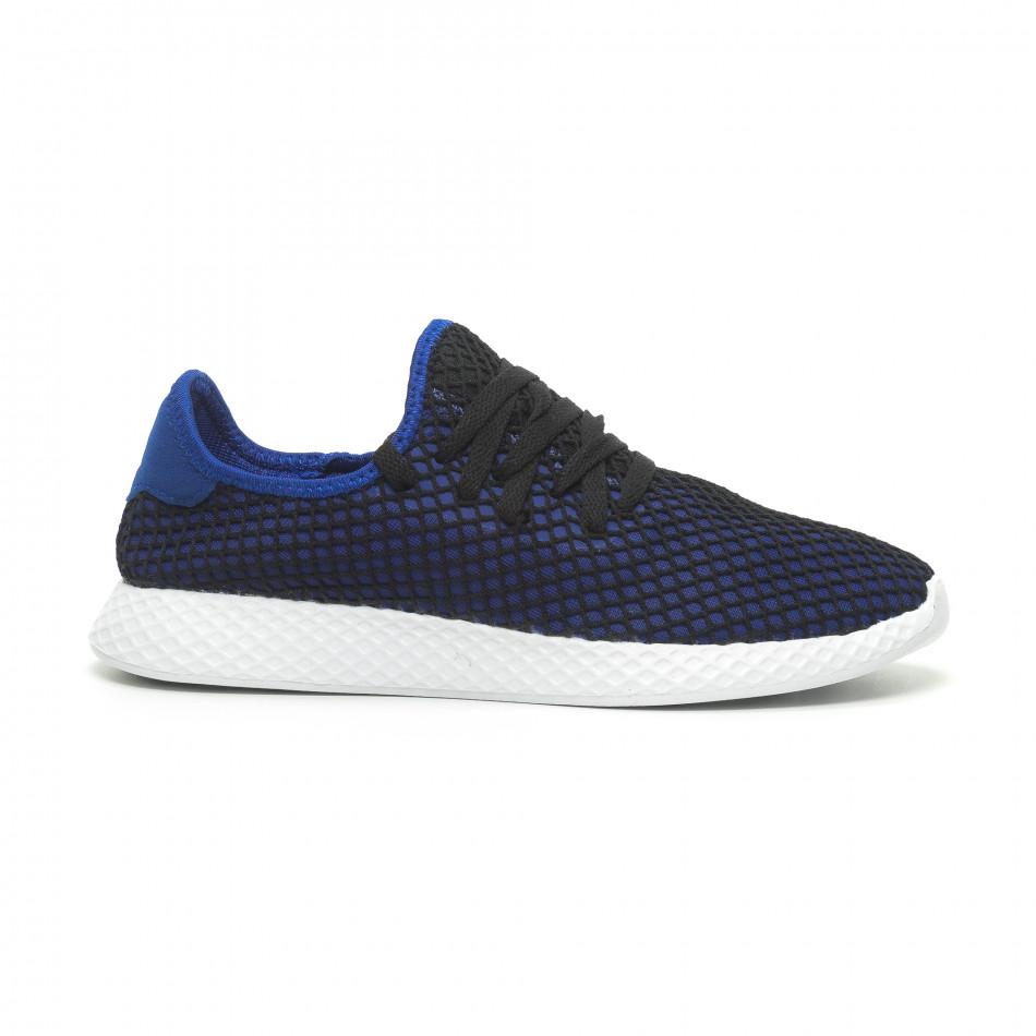 Ултралеки мъжки маратонки Mesh в черно и синьо it230519-2