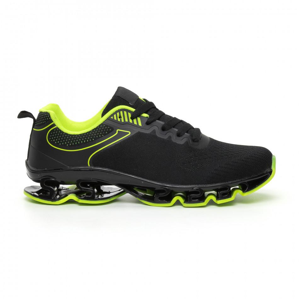 Мъжки маратонки черно и неон с релефна подметка it110919-7