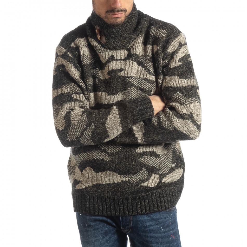 Мъжки пуловер с голяма яка кафяв камуфлаж it051218-52
