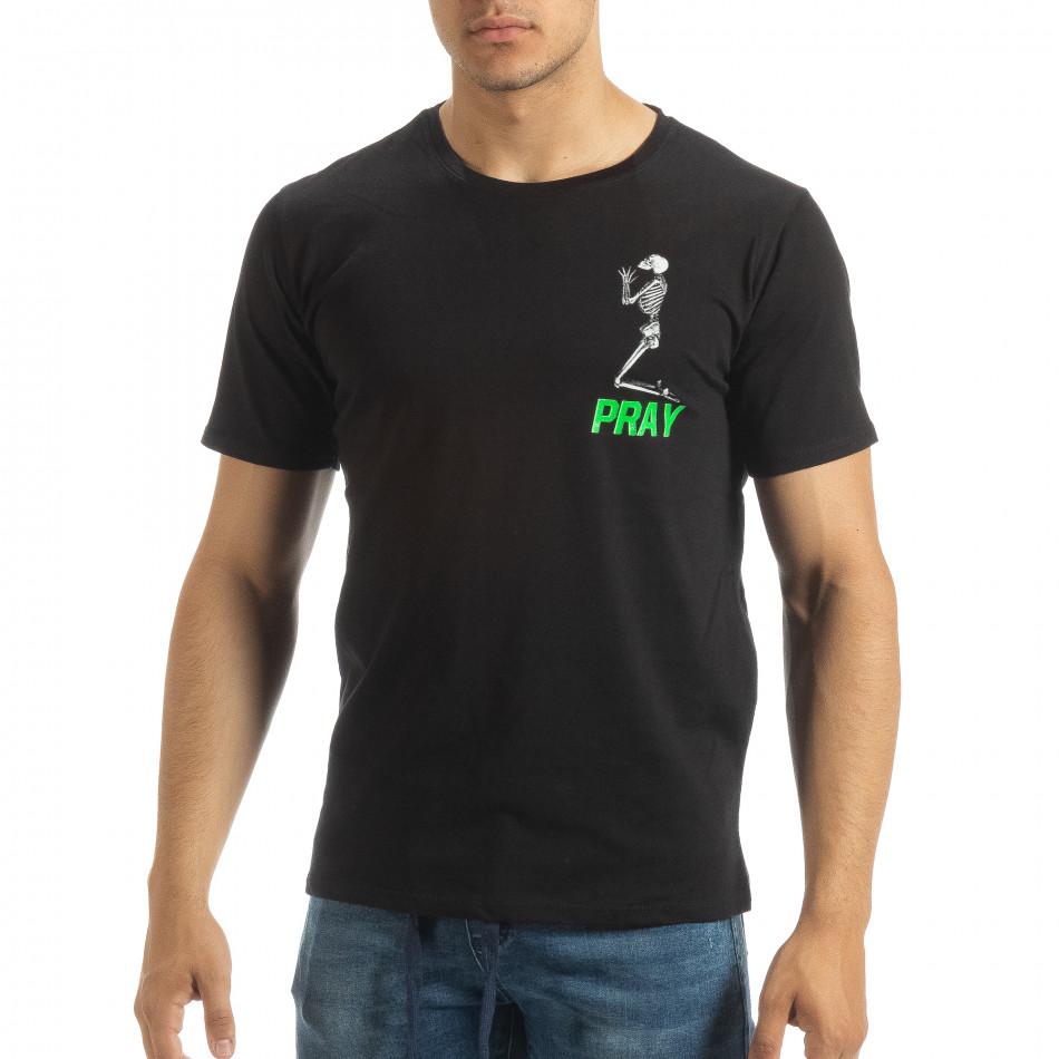 Черна мъжка тениска Pray Trust it120619-40