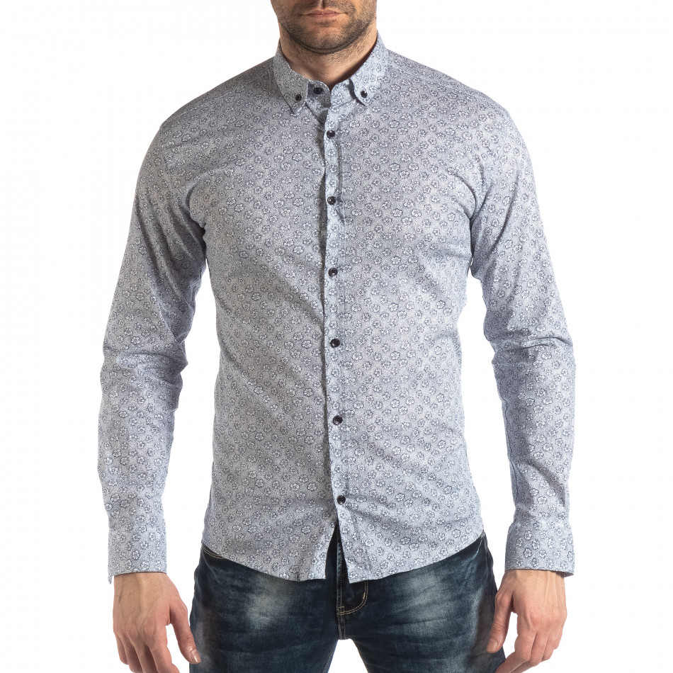 Slim fit мъжка риза с флорален десен в бяло it210319-91