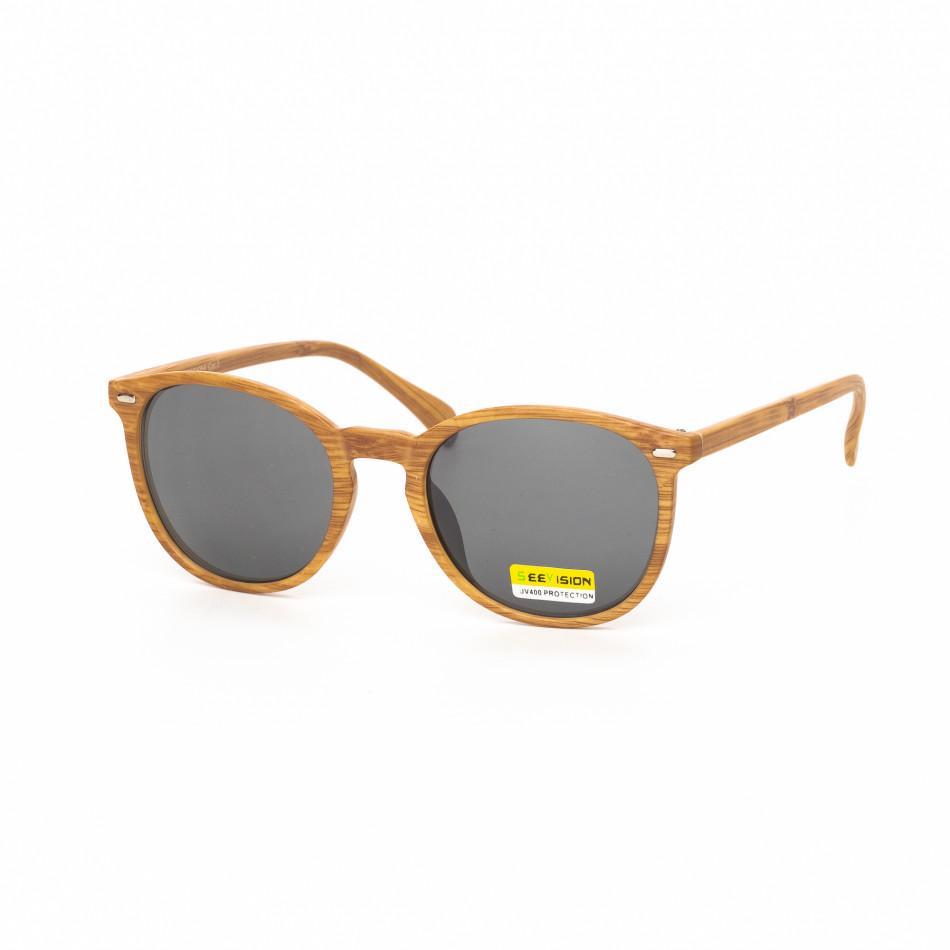 Черни слънчеви очила дървеста рамка натурална it030519-50