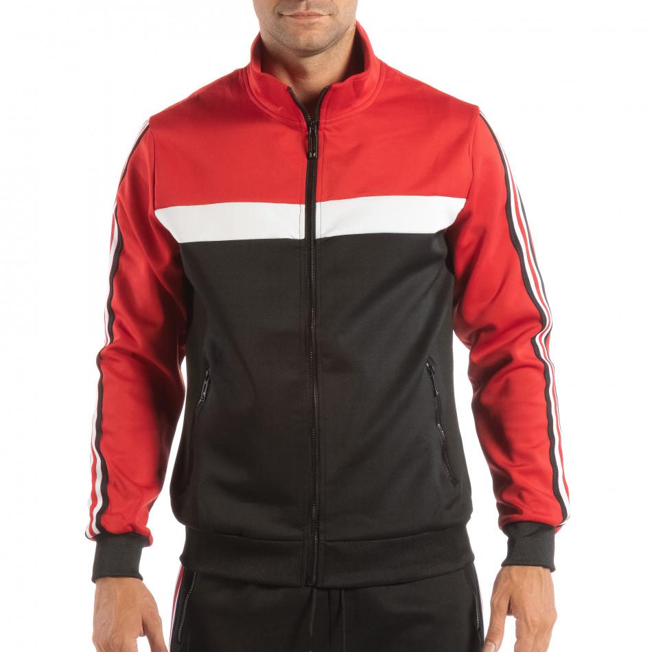 Мъжки черен суичър с кант 5 striped с червено it240818-107