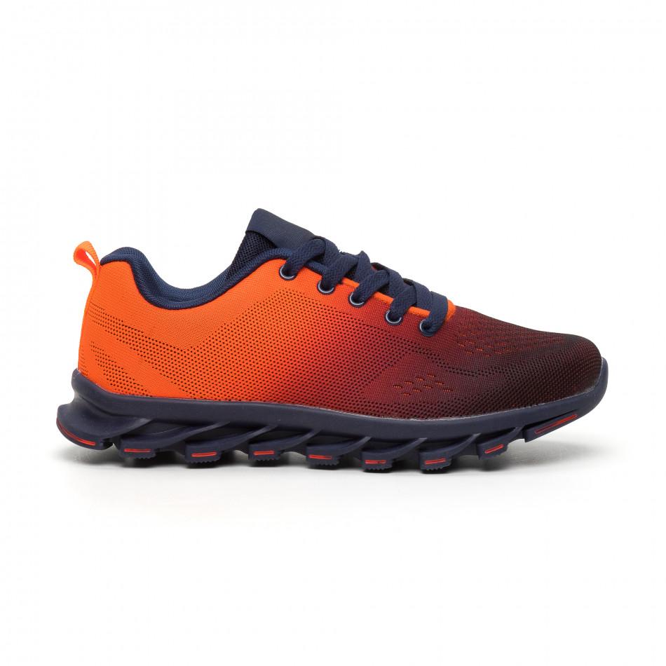 Неоново оранжеви мъжки маратонки с релефна подметка it110919-6