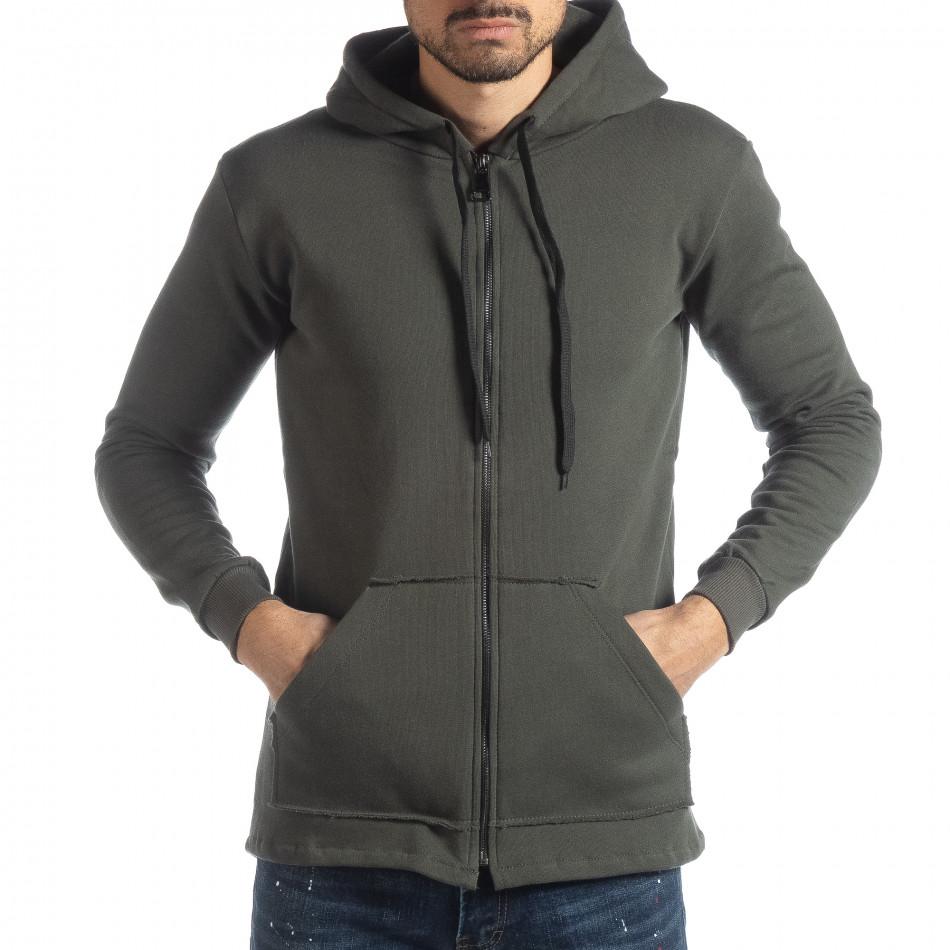 Памучен мъжки суичър с удължен гръб it051218-38