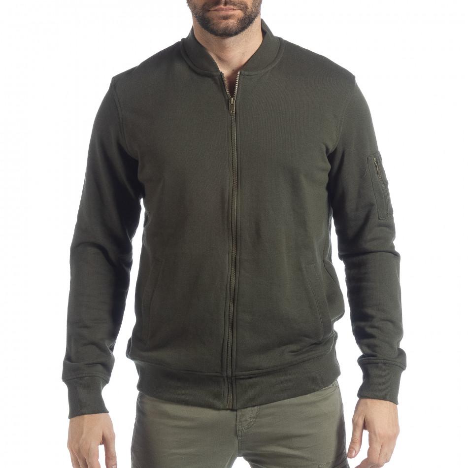 Мъжки зелен суичър CROPP с джоб на ръкава lp080818-104-1