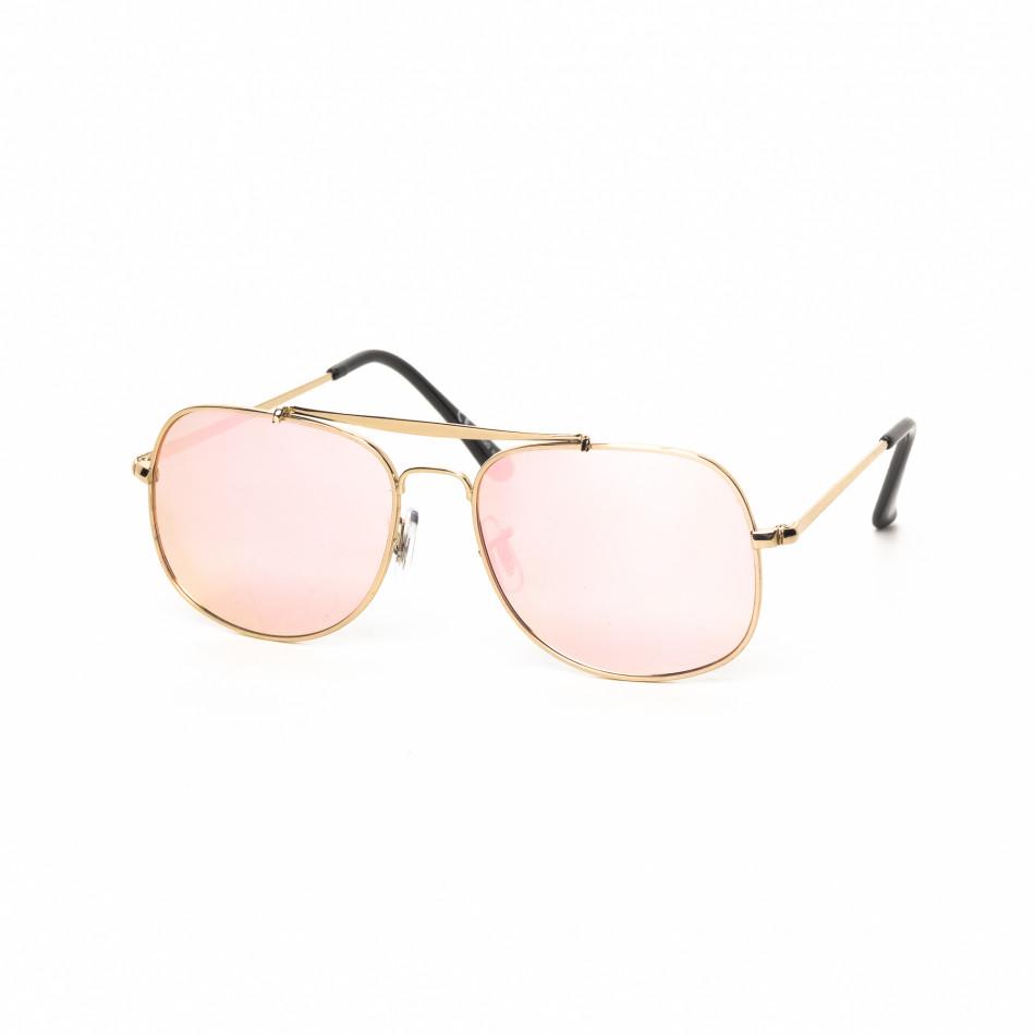 Розови огледални слънчеви очила златиста рамка it030519-27