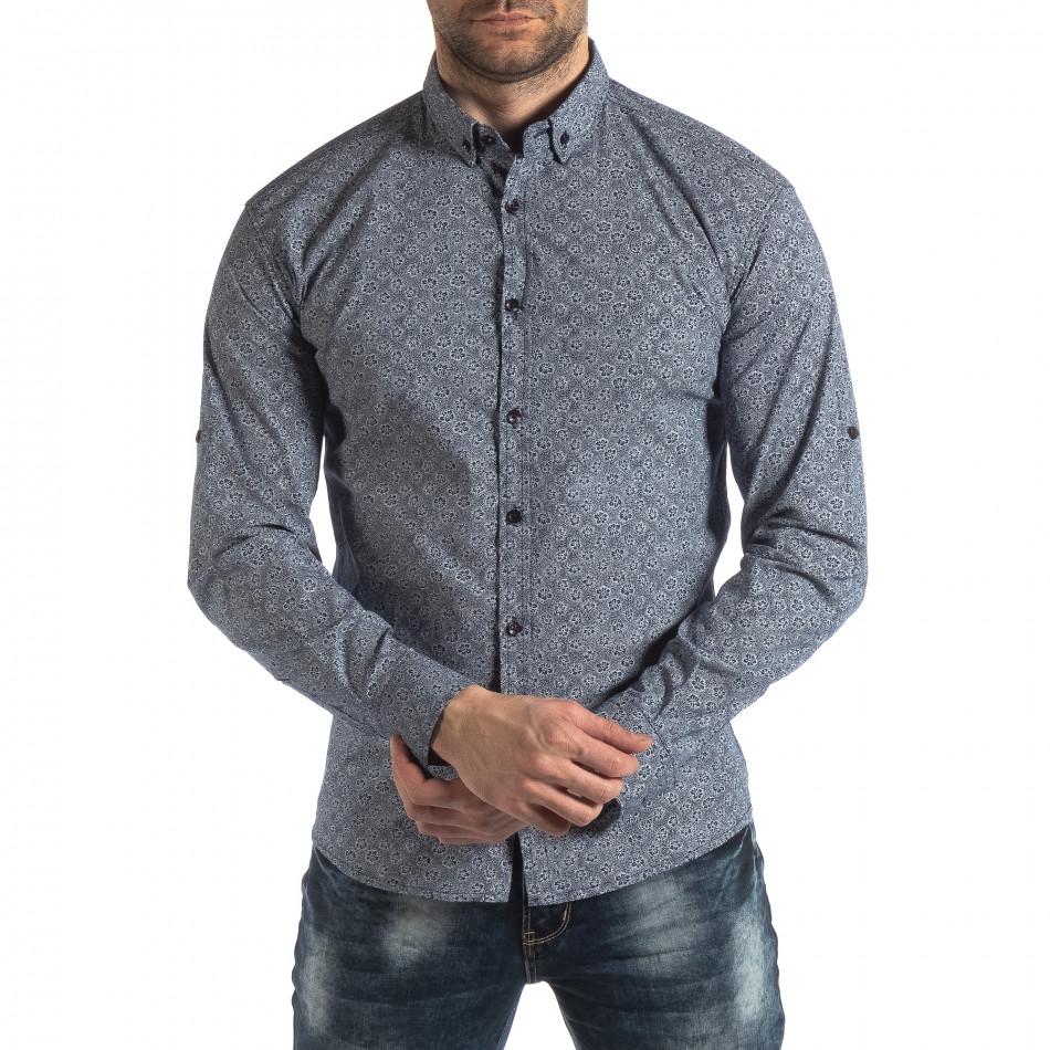 Slim fit мъжка риза с флорален десен в синьо it210319-92