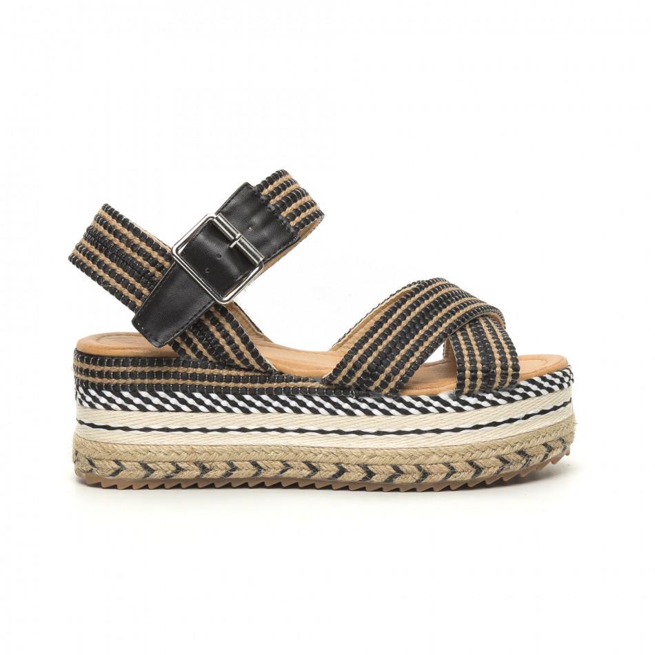 Дамски сандали тип еспадрили декорирана платформа it050619-68