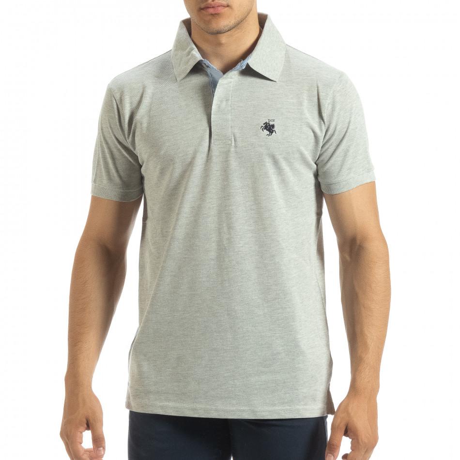 Мъжки сив polo shirt със синьо столче it120619-31