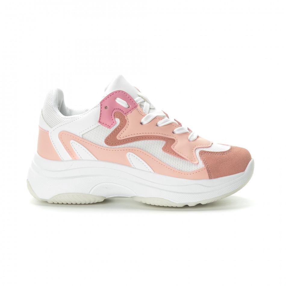 Дамски маратонки в розово на висока подметка it270219-5